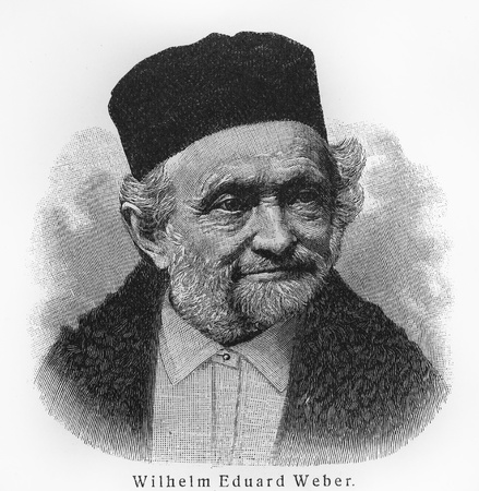 weber: Wilhelm Eduard Weber- Picture from Meyers Lexicon books written in German language. Collection of 21 volumes published between 1905 and 1909.
