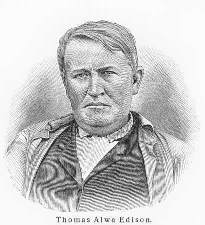 Thomas Edison - Picture from Meyers Lexicon books written in German language. Collection of 21 volumes published between 1905 and 1909.  Stock Photo - 11259832