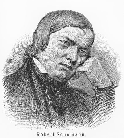 Robert Schumann - Picture from Meyers Lexicon books written in German language. Collection of 21 volumes published  between 1905 and 1909. Editorial