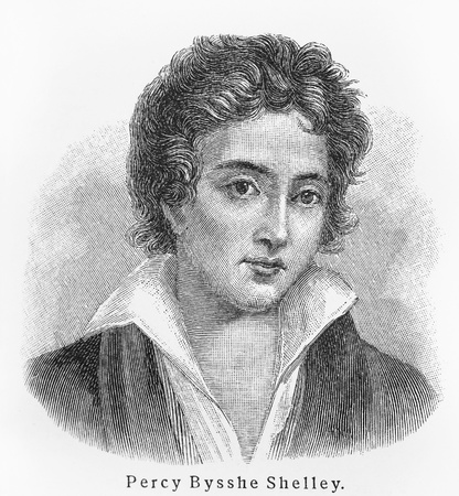 Percy Bysshe Shelley - Picture from Meyers Lexicon books written in German language. Collection of 21 volumes published  between 1905 and 1909.