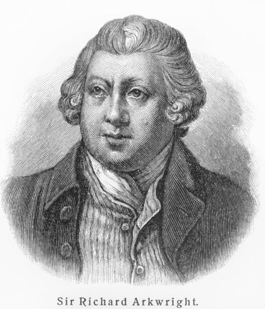 18th century: Sir Richard Arkwright -  Picture from Meyers Lexicon books written in German language. Collection of 21 volumes published between 1905 and 1909.