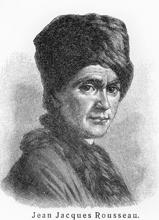 Jean Jacques Rousseau - Picture from Meyers Lexicon books written in German language. Collection of 21 volumes published  between 1905 and 1909.
