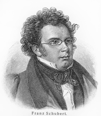music figure: Franz Schubert - Picture from Meyers Lexicon books written in German language. Collection of 21 volumes published between 1905 and 1909.