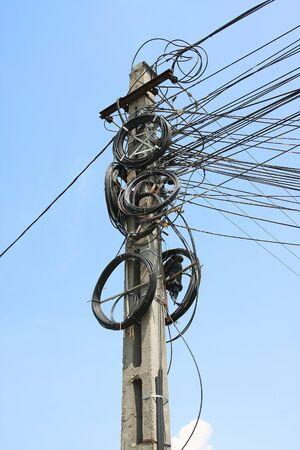cement pole: Electricity pole cables