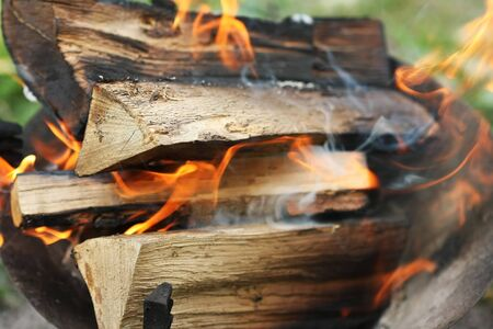 ashes: Detail of a burning wood fire