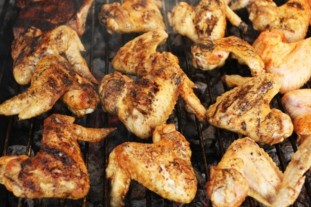 Grilled chicken wings photo