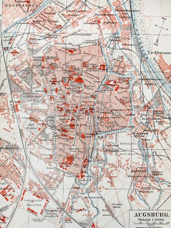 lexicon: Vintage map of Augsburg - The photo is from original Meyers Lexicon book edition 1905