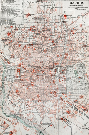 Vintage map of Madrid - The photo is from original Meyers lexicon book edition 1908