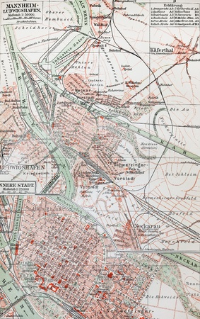 19th century old map of Mannheim - The photo is from the original Meyers Lexicon book edition 1908