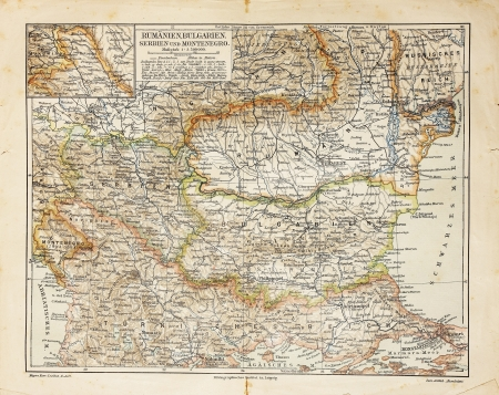 europe closeup: Vintage map of Eastern Europe - The photo is from the original Meyers Lexicon book edition 1906.
