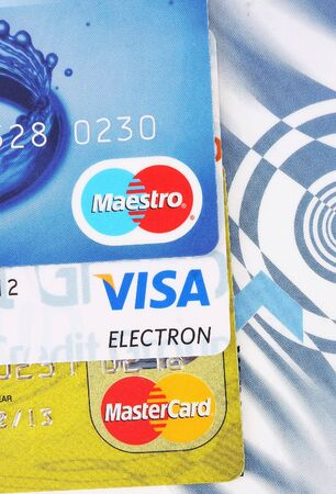 A collection of the most used credit cards in the world; Visa, MasterCard and Maestro.
