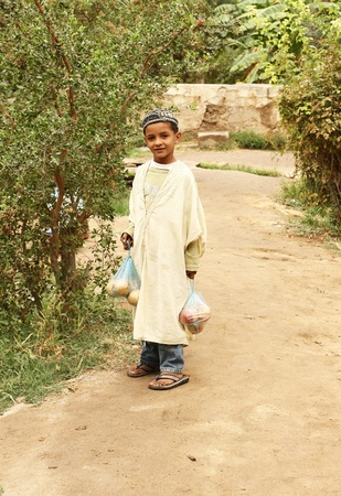 tunisian: Tunisian young  boy carrying two fruit nets  in an desert oasis. Location edge of Sahara desert, Tunisia, autumn 2008 Editorial