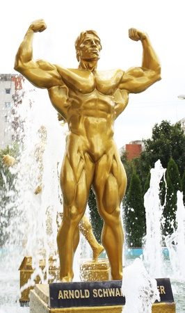 The statue of Arnold Schwarzenegger in front of a big fitness center. Location:  Timisoara, west Romania. Éditoriale