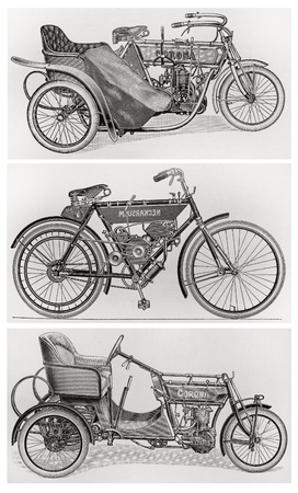 Old vintage motorcycles from the beginning of the 20th century. Pictures form Meyers lexicon books edition 1905-1909 Editorial