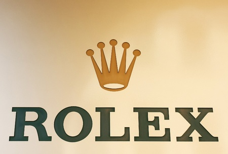 Rolex brand in front of the Rolex shop. Location: Padua ( Padova), Italy summer 2011