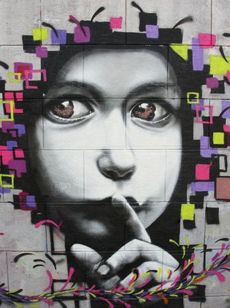 Child graffiti - made near the historic center of Timisoara, Romania in summer 2009. Editorial