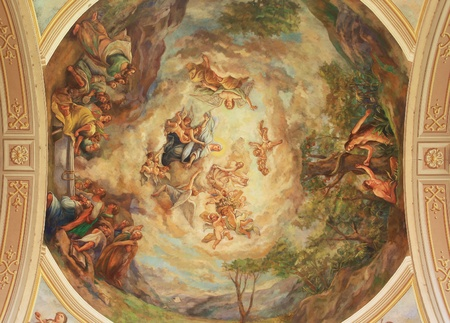 bible altar: Cathedral interior fresco on the roof