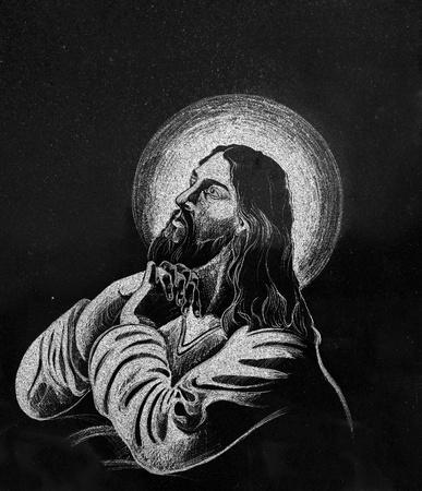 black jesus: Stone engraving of Jesus