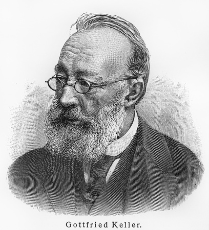 lexicon: Gottfried Keller - Picture from Meyers Lexicon books written in German language. Collection of 21 volumes published between 1905 and 1909.