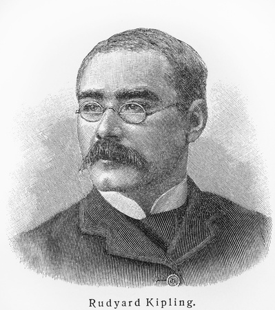 Rudyard Kipling - Picture from Meyers Lexicon books written in German language. Collection of 21 volumes published between 1905 and 1909.  Editorial