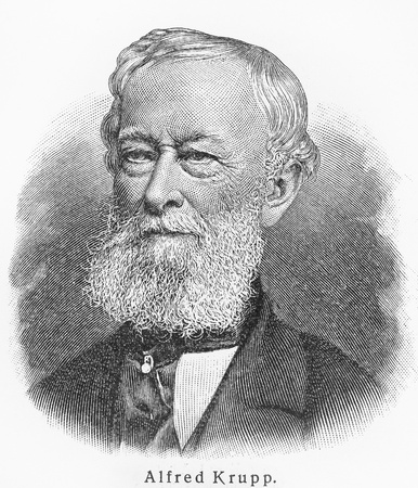19th: Alfred Krupp - Picture from Meyers Lexicon books written in German language. Collection of 21 volumes published between 1905 and 1909.  Editorial
