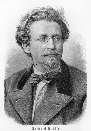 19th: Friedrich Gerhard Rohlfs - Picture from Meyers Lexicon books written in German language. Collection of 21 volumes published between 1905 and 1909.  Editorial