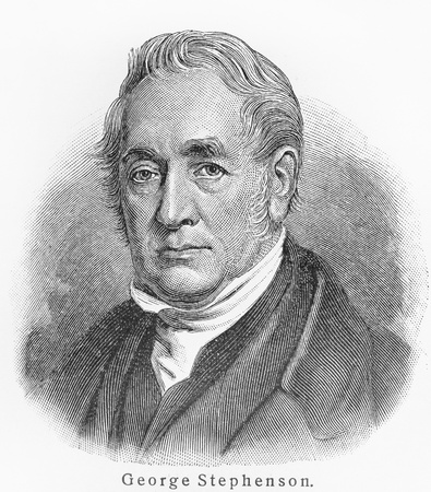 inventor: George Stephenson - Picture from Meyers Lexicon books written in German language. Collection of 21 volumes published between 1905 and 1909.