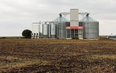 Grain silos on a field