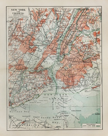 new york: New York old map from the end of 19th century Stock Photo