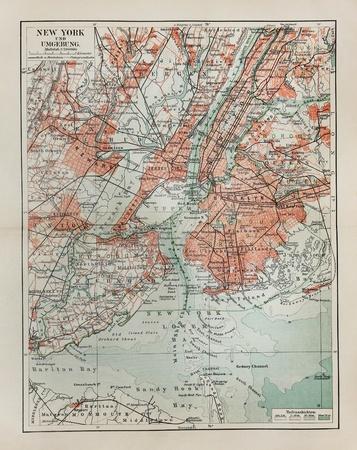 New York oude kaart uit het einde van de 19e eeuw