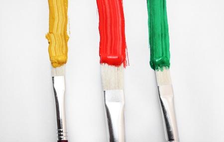 tempera: Oil paint brushes Stock Photo