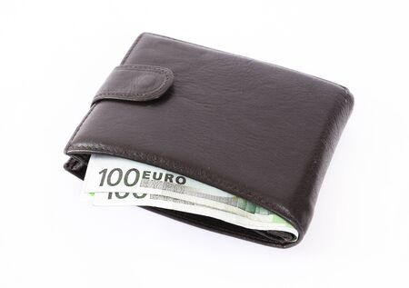 Wallet full of money isolated  photo