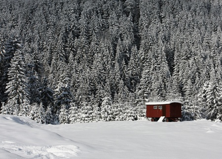 Mountain hut in winter photo