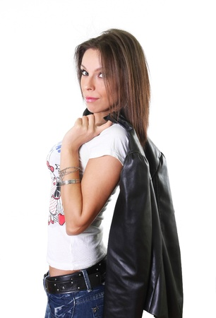 Beautiful young woman holding a leather jacket photo