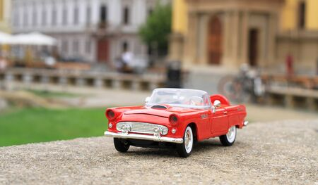 Classic red toy car Stock Photo