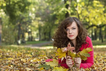 Autumn season cute girl photo