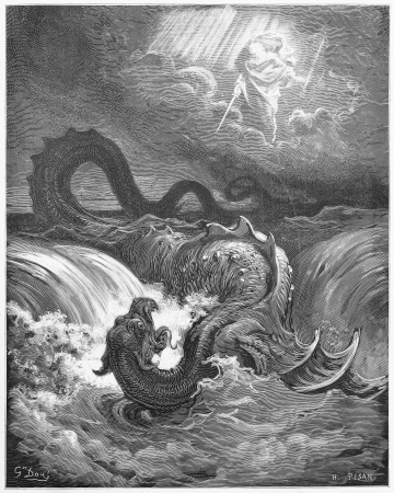 The Destruction of Leviathan - Picture from The Holy Scriptures, Old and New Testaments books collection published in 1885, Stuttgart-Germany. Drawings by Gustave Dore.  Editorial