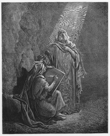 testaments: Baruch Writes Jeremiahs Prophecies - Picture from The Holy Scriptures, Old and New Testaments books collection published in 1885, Stuttgart-Germany. Drawings by Gustave Dore.