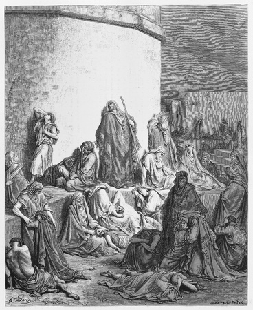 The People Mourning over the Ruins of Jerusalem - Picture from The Holy Scriptures, Old and New Testaments books collection published in 1885, Stuttgart-Germany. Drawings by Gustave Dore.  Stock Photo - 16102369