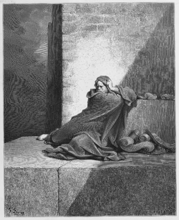 testaments: Baruch - Picture from The Holy Scriptures, Old and New Testaments books collection published in 1885, Stuttgart-Germany. Drawings by Gustave Dore.  Editorial