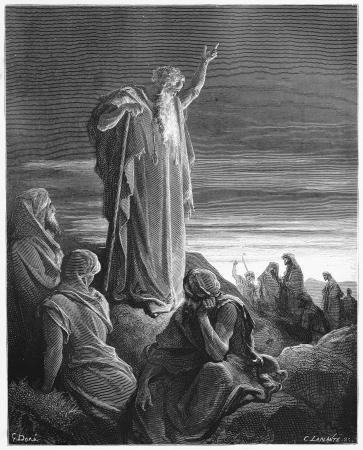 El profeta Ezequiel - Foto de Las Sagradas Escrituras, el Antiguo y Nuevo Testamentos colección de libros publicados en 1885, Stuttgart-Alemania. Los dibujos de Gustave Doré. Foto de archivo - 16102216