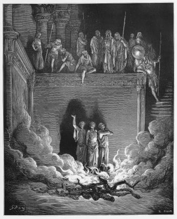 historical periods: Shadrach, Meshach, and Abednego in the Fiery Furnace - Picture from The Holy Scriptures, Old and New Testaments books collection published in 1885, Stuttgart-Germany. Drawings by Gustave Dore.  Editorial