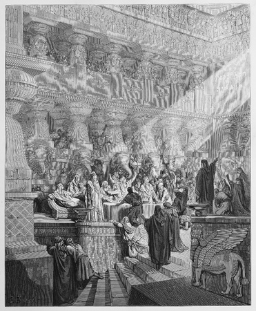 historical periods: Daniel Interpreting the Writing on the Wall - Picture from The Holy Scriptures, Old and New Testaments books collection published in 1885, Stuttgart-Germany. Drawings by Gustave Dore.