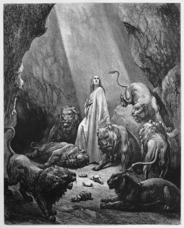 testaments: Daniel in the Lions Den - Picture from The Holy Scriptures, Old and New Testaments books collection published in 1885, Stuttgart-Germany. Drawings by Gustave Dore.  Editorial