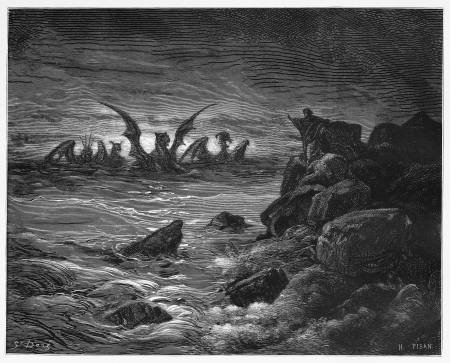 Daniels vision of the four beasts - Picture from The Holy Scriptures, Old and New Testaments books collection published in 1885, Stuttgart-Germany. Drawings by Gustave Dore.
