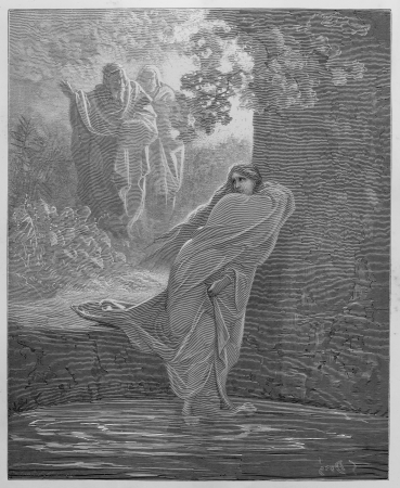 Susanna in the Bath - Picture from The Holy Scriptures, Old and New Testaments books collection published in 1885, Stuttgart-Germany. Drawings by Gustave Dore.  Editorial