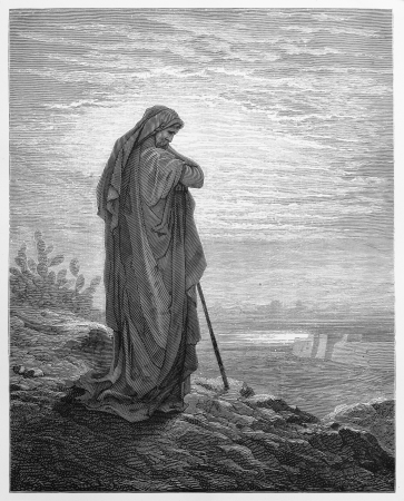 biblical: The Prophet Amos - Picture from The Holy Scriptures, Old and New Testaments books collection published in 1885, Stuttgart-Germany. Drawings by Gustave Dore.