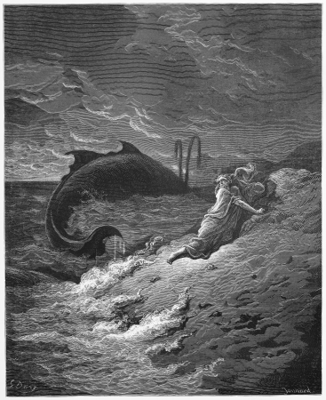 biblical: Jonah and the Whale - Picture from The Holy Scriptures, Old and New Testaments books collection published in 1885, Stuttgart-Germany. Drawings by Gustave Dore.  Editorial