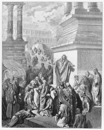 testaments: Jonah preaching to the Ninevites - Picture from The Holy Scriptures, Old and New Testaments books collection published in 1885, Stuttgart-Germany. Drawings by Gustave Dore.  Editorial