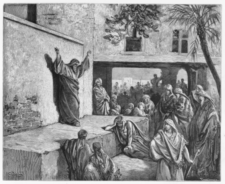 holy bible: Micah the Moreshite prophet preaching to the Israelites - Picture from The Holy Scriptures, Old and New Testaments books collection published in 1885, Stuttgart-Germany. Drawings by Gustave Dore.  Editorial